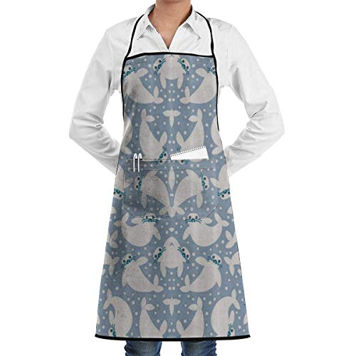 Kawaii Dot Seal Party Adjustable Cooking Kitchen Bib Apron with Pockets for Women Men Chef Red Seal Chef