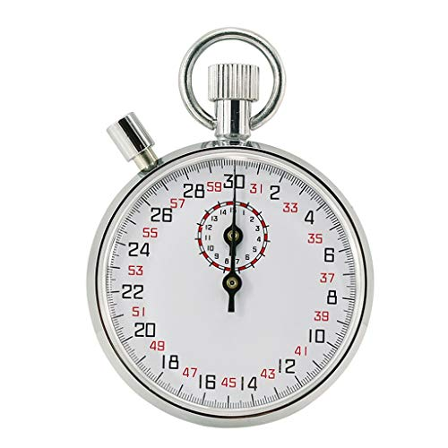 LQW HOME-Eieruhren Mechanische Stoppuhr504 505 803 806 Stoppuhr Leichtathletik Wettbewerb Sport Timer Metall Textur Leicht zu bedienen (Color : Silver, Design : 30 Seconds-Pause Button)
