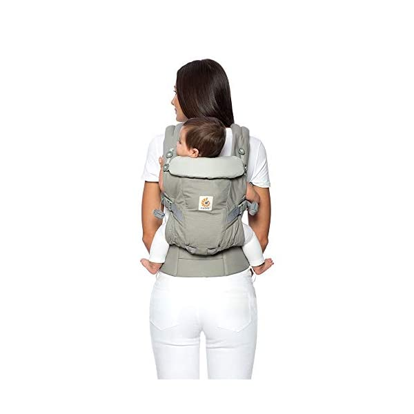Ergo Baby Ergobaby Original Adapt Cool Air Mesh Baby Carrier Pearl Grey Ergobaby Baby Carrier for newborns – The ergonomic bucket seat gradually adjusts to your growing baby, to ensure baby is seated in a natural frog-leg position (M-shape position) from birth to toddler (3.2 to 20kg / 7-45lbs). NEW – Now with lumbar support. Long-wearing comfort for parents with even weight distribution between hips and shoulders. Lumbar support waistbelt that can be adjusted to the height of the carry position for extra, long-wearing comfort. Adapt 3carry positions: front-inward, hip and back. The carrier has a padded, foldable head and neck support and a tuck-away baby hood for sun protection (UPF50+) and privacy. It is possible to breastfeed in the carrier. 3