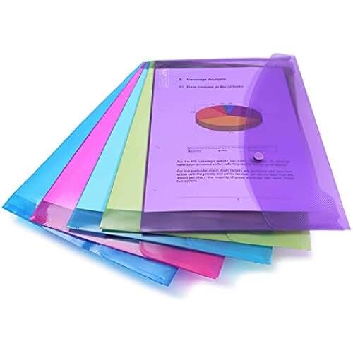 material escolar para la vuelta al cole Rapesco Documentos - Carpeta portafolios A4+ horizontal, en varios colores traslúcidos, 5 unidades