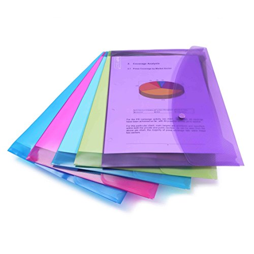 Rapesco Pochette Porte Document avec Bouton Pression en Polypropylène Transparent Papier Ministre (Lot de 5) en Couleurs Assorties