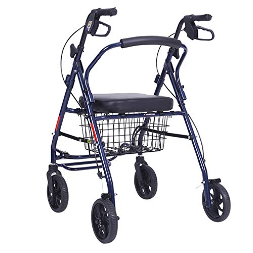 Aufrechte Haltung Rolling Walker, Drive Medical Wheel Gehhilfe, Superleichtes Aluminium, Mobilität Tragbare Rollator Walker Mit 4-Rad Für Senioren,Blue -