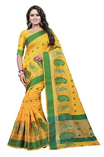 04c672fc9742a CARTY SHOP Women s Cotton Silk Sarees with Blouse Piece (Yellow)