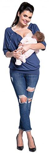 Zeta Ville - Top grossesse allaitement pressionnés chauve-souris - femme - 023c Bleu Gris