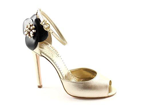 DIVINE FOLLIE 27-R125 platino laminato sandali donna tacco fiore 37