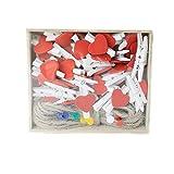 ZONYEO 50 pezzi molletta in legno w/iuta spago unghie rosso a forma di cuore clip di artigianato lettere per scrapbooking artigianato decorazione di cerimonia nuziale