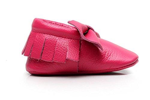 Backbuy Chaussons Pour Bébé à Cuir Arc Chaussures Premiers Pas Filles Rose