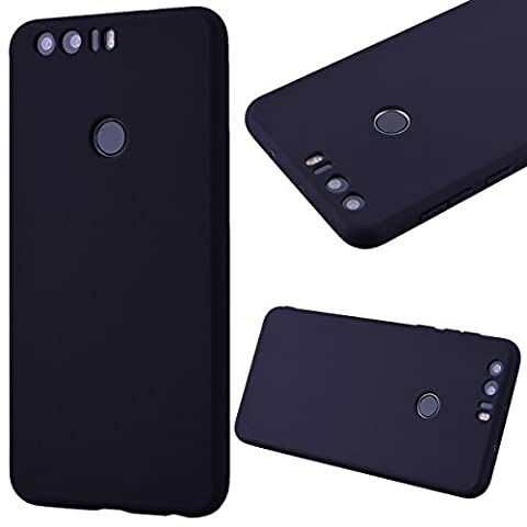 GrandEver Soft Silicone Case for Huawei Honor 8 TPU Back Cover Solid Cover Cases Huawei Honor 8 Black Shell Cell Phone Accessory Kits Scratch-Proof Protective Rubber Gel Skin Shell for Huawei Honor 8