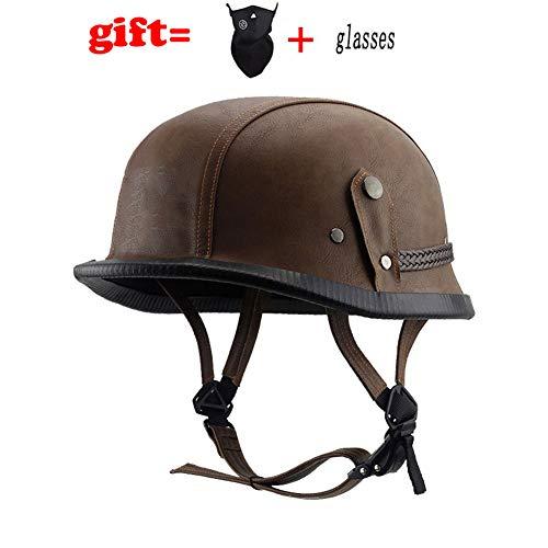 GHH Offenes Gesicht Für Motorradhelme,Leicht Einstellbare Helmkollisionsvermeidung Atmungsaktiver Helm Aus Abs Material Unisex (geeignet Für 55-61 cm),Brown,Null