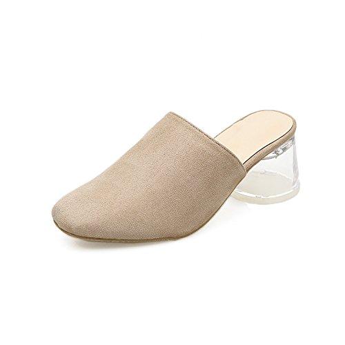 GTVERNH-le donne xia jiping scarpe con tacchi baotou pesante tallone impermeabilizzare le scarpe baotou tacco alto due scarpe semplice trasparente e semi - pantofole,35 Thirty-nine