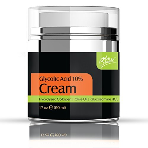 Bleu Beaute Glycolic 10% Creme mit Antioxidantien, Hydrated Collagen, Olivenöl, für feine Linien Anti-Aging, Falten, Poren,...