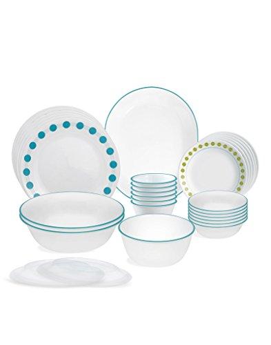 Corelle South Beach Glass Dinnerware Set, 30-Pieces, Multicolor