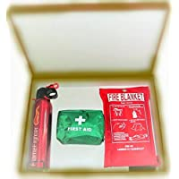 A FIRE Safety Essentials Box Set 2 600g ABC Powder FIRE Extinguisher, FIRE Blanket and 42 PCS First AID KIT.Ideal for Home, Kitchen Offices WORKPLACES 24