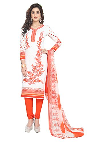 Ishin Women's Synthetic White & Orange Bollywood Printed Unstitched Salwar Suit Dress Material (Anarkali/Patiyala) With Dupatta  available at amazon for Rs.299