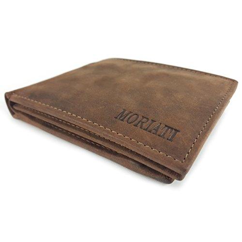 MORIATI Herren Geldbörse Geldbeutel aus Echtleder - Brieftasche Portemonnaie mit 10 Kartenfächern, doppeltes Münzfach & Geldscheinfach, Sichtfenster, hochwertiges Rindsleder in vintage braun