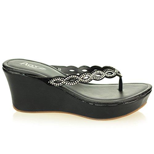 Femmes dames soir enfiler casual confort compensé talon diamante sandale chaussures taille (Noir, Champagne) Noir