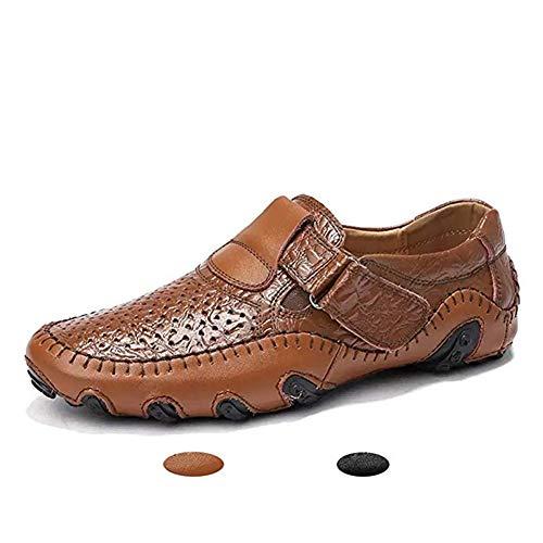 Asifn Herren Schuhe Sommer Slipper Mokassins Weich Leder Mode Atmungsaktiv Casual Halbschuhe Bequem rutschfest Langlebig Anzugsschuhe(braun,38 EU,24CM Ferse zum Zeh