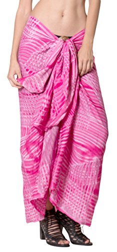 La Leela Frauen Strand Sarong Pareo Bademoden Rayon Verschleiern Badeanzug Wickelrock Rosa (Lange Rayon Tie Dye Wrap)