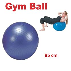 Konex Inflatable Gym Ball With Foot Pump - For Total Body Fitness,Abdominal Toner - Diameter 85 Cm