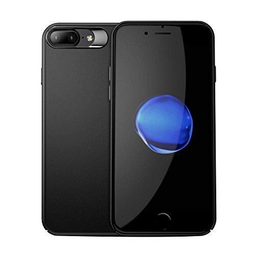 Kobwa Anti-Fingerprints Case Ultra Thin für IPhone 7/7 Plus, Shock Absorbing Kratzer-Resistant Stoßdämpfer Slim Fit Cover mit Beschichteter Oberfläche Voller Schutz Sturdy PC Case für IPhone 7/7 Plus 7Plus Schwarz