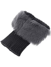 Aawsome - Calcetines de invierno para mujer, cálidos, de ganchillo, con corte de piel, para calentar piernas, puños, para botas gris oscuro