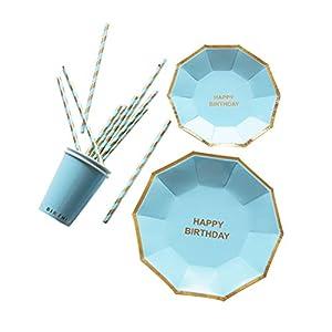 Toyvian Einweg Papier Geschirr Set 16 stücke Kuchenplatten 8 stücke Tassen und 25 stücke Strohhalme Partei Liefert (Sky Blue)
