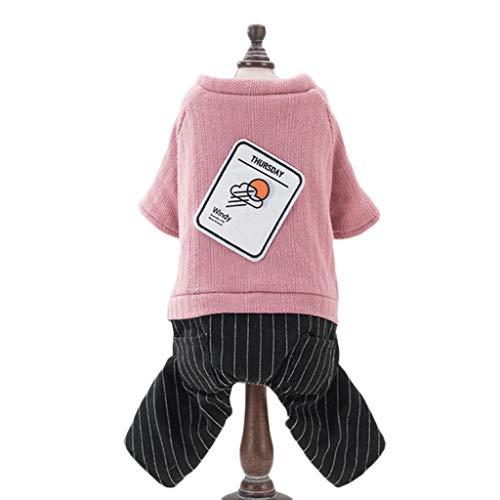 ZJEXJJ Hundekleidung Herbst und Winter Teddy Bomeibi Bär beschichten Kleine Hundehaustierkleidung vierbeinige Kleidung (Farbe : Pink, größe : ()
