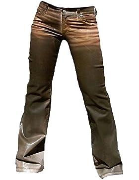 Fornarina Damen Jeans Braun Area Stretch Satin Gewachst Leder Optik Rock Star Hose Geile Bootcut Schlagjeans