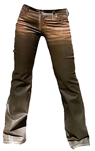 Fornarina Damen Jeans Braun Area Stretch Satin Gewachst Leder Optik Rock Star Hose Geile Bootcut Schlagjeans W27 L34