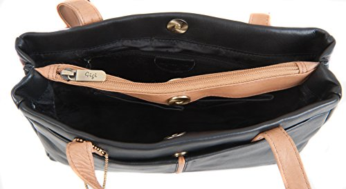Gigi, Borsa a spalla donna Dark Brown & Honey small Black & Honey