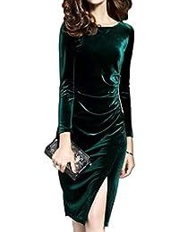 Vestido Midi De Fiesta De Terciopelo con Abertura Elegante Casual para Mujer