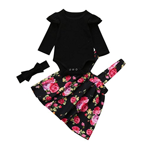 (OVERDOSE Neugeborenen Kinder Baby Mädchen Strampler Tops + Floral Tutu Party Prinzessin Kleid + Stirnband Set(3M,A-Schwarz))