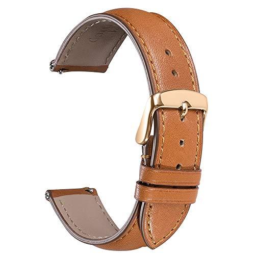 CHIMAERA Echtes Leder Uhrenarmband, Smart Watch Armband Schnellverschluss Ersatzband für Herren Damen mit Edelstahl Metall Schließe 16mm, 18mm,19mm, 20mm, 21mm,22mm, 24mm