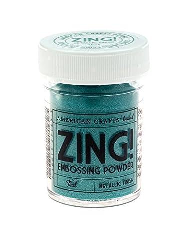 American Crafts 1-Piece 1 oz Zing Metallic Embossing Powder, Teal