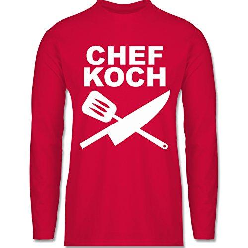 Shirtracer Küche - Chefkoch Messer - Herren Langarmshirt Rot