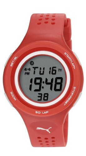 Puma Faas 200 Glow Unisex Digital Watch with LCD Dial Digital Display and Red PU Strap PU911081003