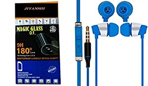 Jiyanshi Combo of Screen Guard / Screen Protector & Earphone With Super Sound Blue Compatible For Motorola Nexus 6