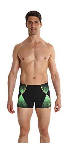 Speedo Herren Badeanzug Fit Pinnacle Aquashorts,  Black/Fluo Green/Global Gold, 8-10369A56836, Gr. DE 6 (Herstellergröße: 36)