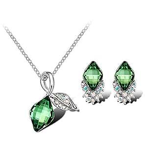 7Ounces - Parure Collier& Boucle D'oreille pour Femmes/Filles - Bijoux Fantaisie Cristal Swarovski Elements Vert Emeraude - Collection 'Flore'