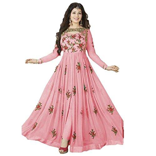 Sukhvilas New Designer Pink Embroidery Georgette SemiStitched Anarkali Salwar Suit