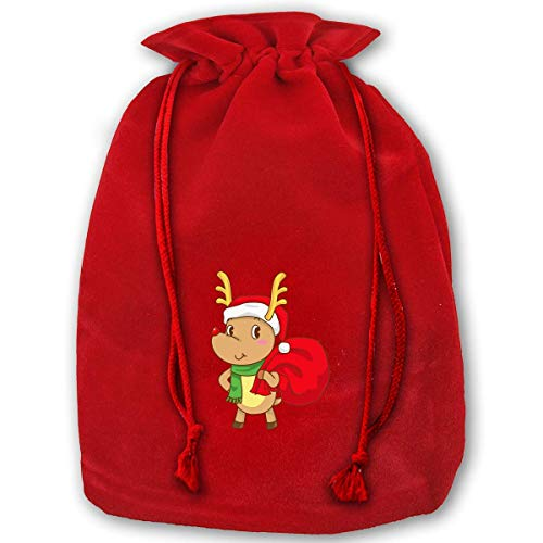 gf 3 Pack Christmas Drawstring Gift Bags Santa Sack Backpack for Party Favors and Candy, Rainbow Snow Deer ()