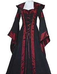 Abito Manica Lunga Moda Donna Rinascimentale Medievale Fasciatura Vintage  Lady Abiti contadini Abito Manica Lunga per 7e0dd78d68ab