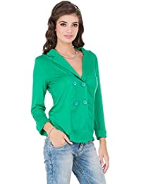 CAY Stylish & Trendy Combo of Green & Grey Colored Double-Breasted Soft Cotton Blazer/Jackets