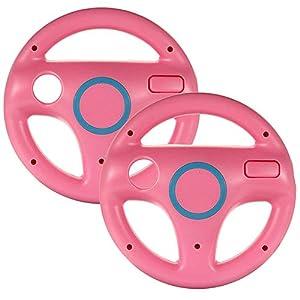 booEy 2x Lenkrad Wheel für Nintendo WII, Wii mini und Wii U Mario Kart rosa / pink