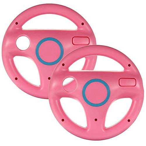 booEy 2x Lenkrad Wheel für Nintendo WII, Wii mini und Wii U Mario Kart rosa / pink (Mario Kart Wii Mini)