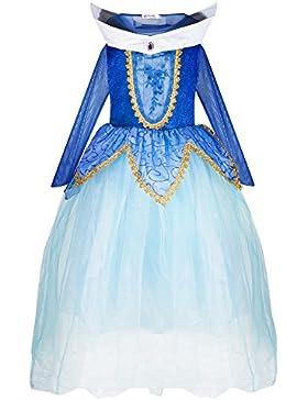 Katara Mädchen Prinzessin Dornröschen Kleid Aurora inspiriertes Kostüm für Fasching, Karneval, Geburtstagsfeiern...