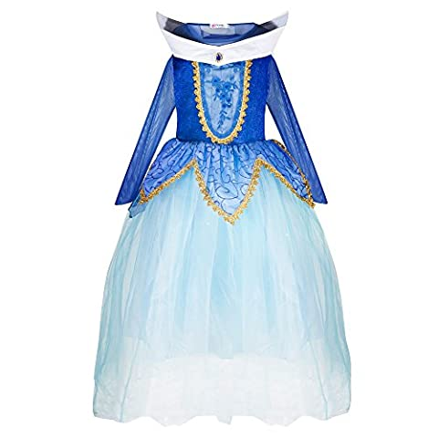 Katara 1772 Mädchen Prinzessin Dornröschen Kleid Aurora inspiriertes Kostüm für Fasching, Karneval, Geburtstagsfeiern oder zum Spielen für Kinder, Blau, 104/110 (Etikett (Englisch Wünsche Für Weihnachten)