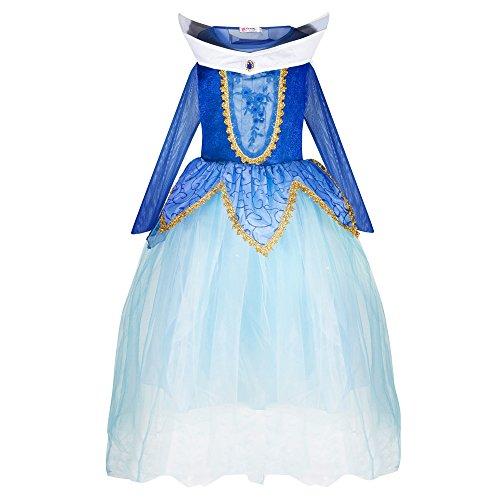 Katara 1772 Mädchen Prinzessin Dornröschen Kleid Aurora inspiriertes Kostüm für Fasching, Karneval, Geburtstagsfeiern oder zum Spielen für Kinder, Blau, 104/110 (Etikett 110)