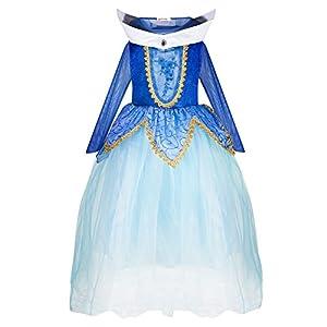 Katara 1772 - Disfraz de Princesa Aurora Bella Durmiente - Niñas 8-9 Años, Azul