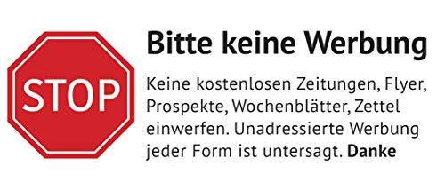 Keine Werbung Aufkleber in Weiss - Schild - Folie - Sticker (Stop Bitte Keine Kostenlose Zeitung, Reklame, Flyer, Werbung einwerfen) für den Briefkasten (1)
